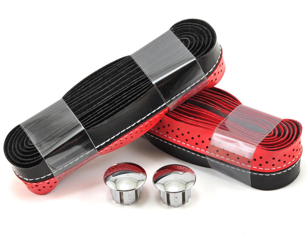 Stitched/Perforated Road Bar Tape (Black/Red)