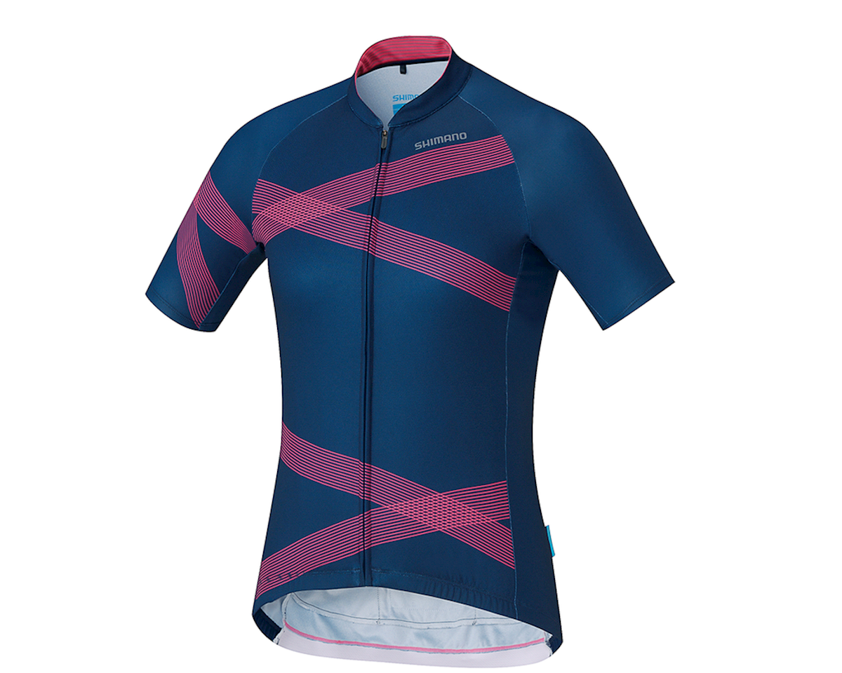 Shimano W's Team Shimano Jersey Navy/Pink XS Women's (NVYPNK)