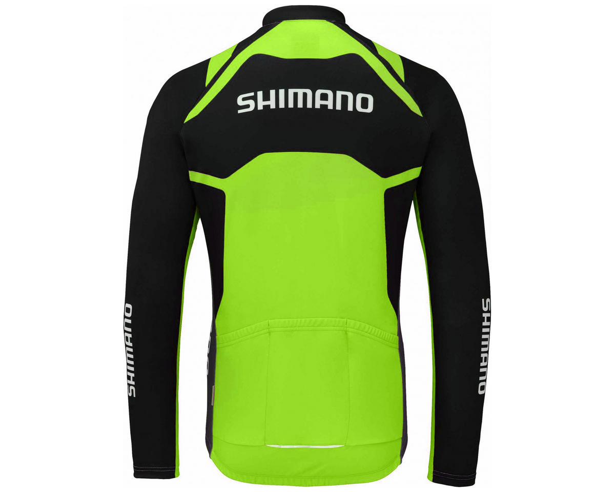 Shimano Thermal Print Long Sleeve Team Cycling Jersey (Electric Green)