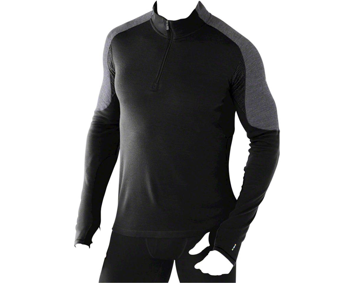 Smartwool PhD Light Men's Long Sleeve 1/4 Zip Base Layer Top: Black LG