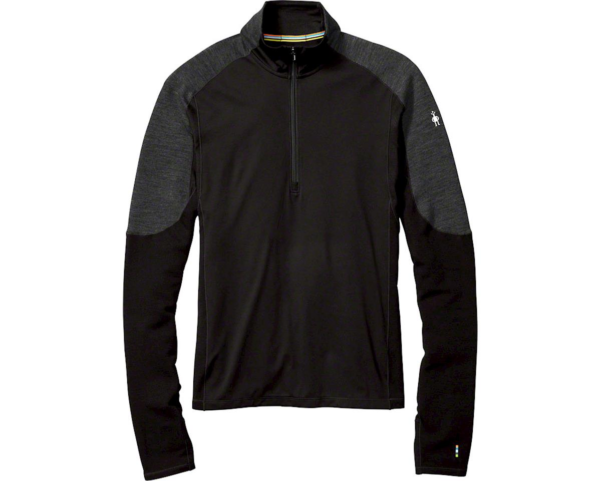 Smartwool PhD Light Men's Long Sleeve 1/2 Zip Printed Wind Top: Black LG