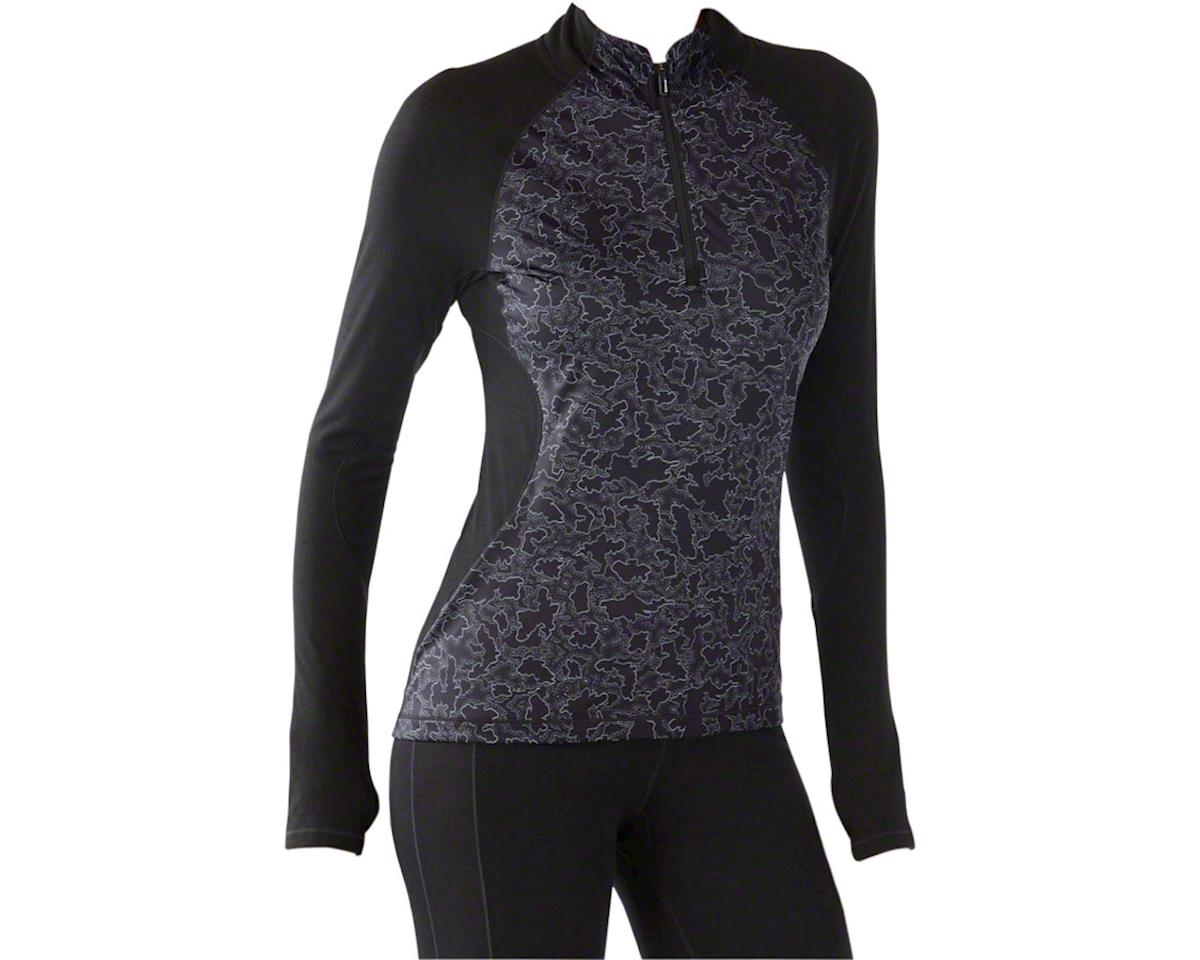 Smartwool PhD Light Women's Long Sleeve 1/2 Zip Printed Wind Top: Black LG