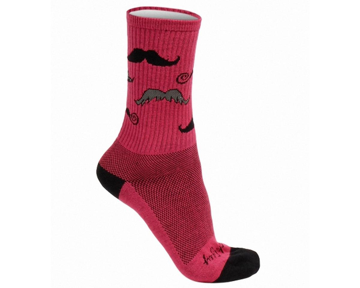 """Sockguy Mustache Pink 6"""" Acrylic Crew Socks"""