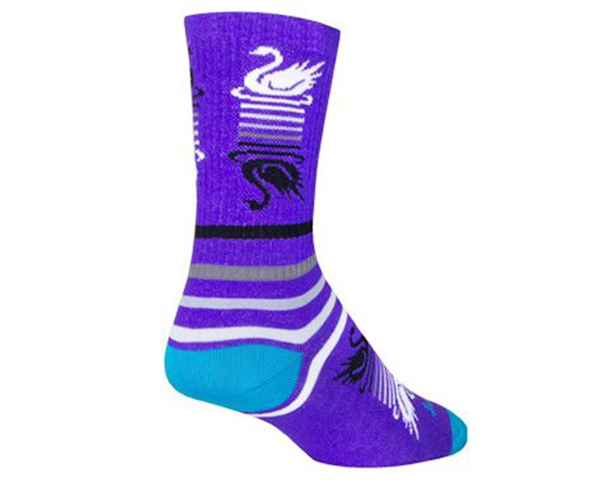 Sockguy Swan Song Crew Socks (Purple/White) (M)