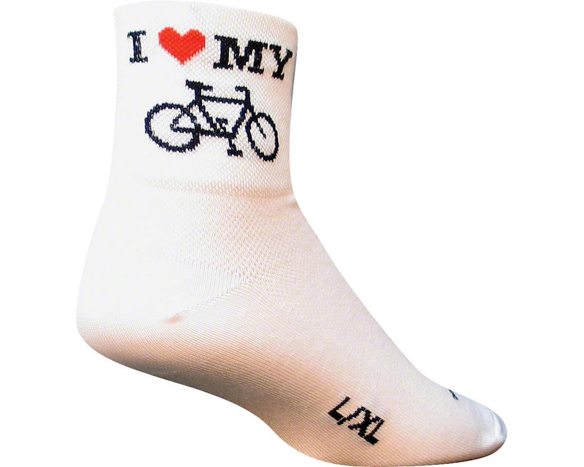 Sockguy I Heart My Bike Socks (White) (L/XL)
