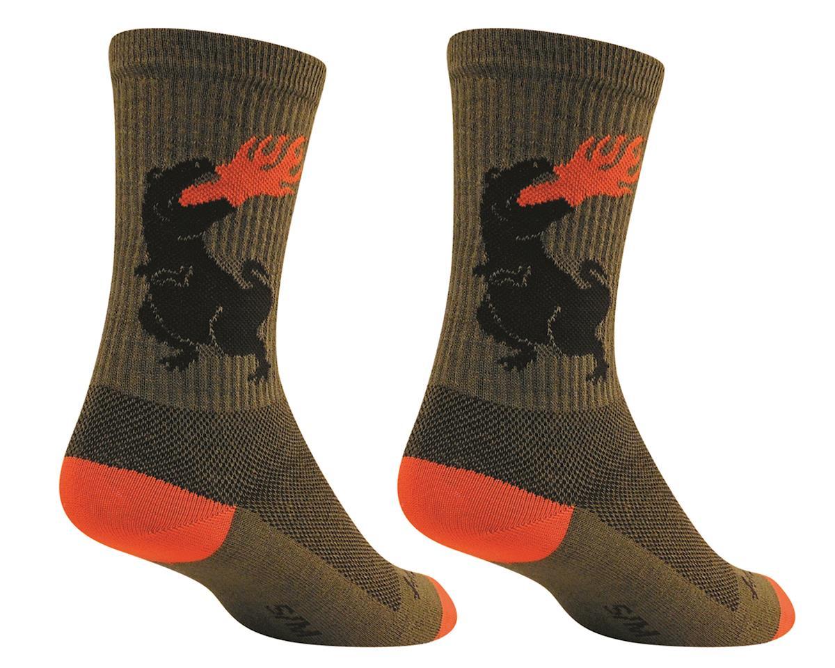 Sockguy Wool Dinosaur Sock (Green) (L/XL)