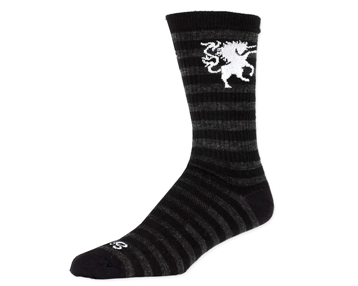 SockGuy Wool Medieval Unicorn Sock: Black/Gray LG/XL