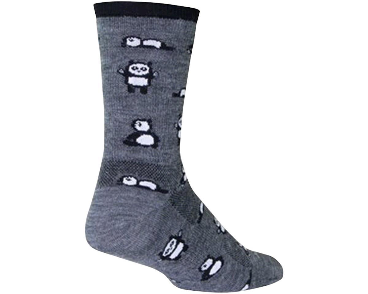 Sockguy Pandamonium Wool Crew Socks (Grey) (L)