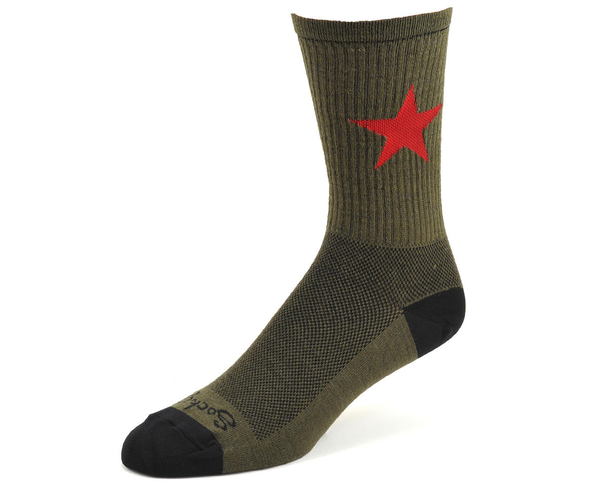 "Sockguy Wool Red Star 6"" Crew Socks (Green) (S/M)"
