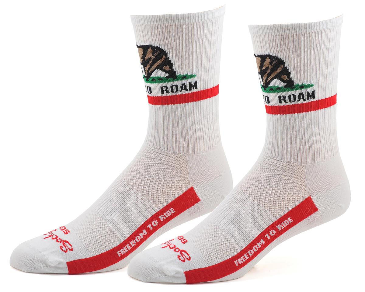 "Sockguy SGX 6"" CA Freedom Socks (White) (L/XL)"