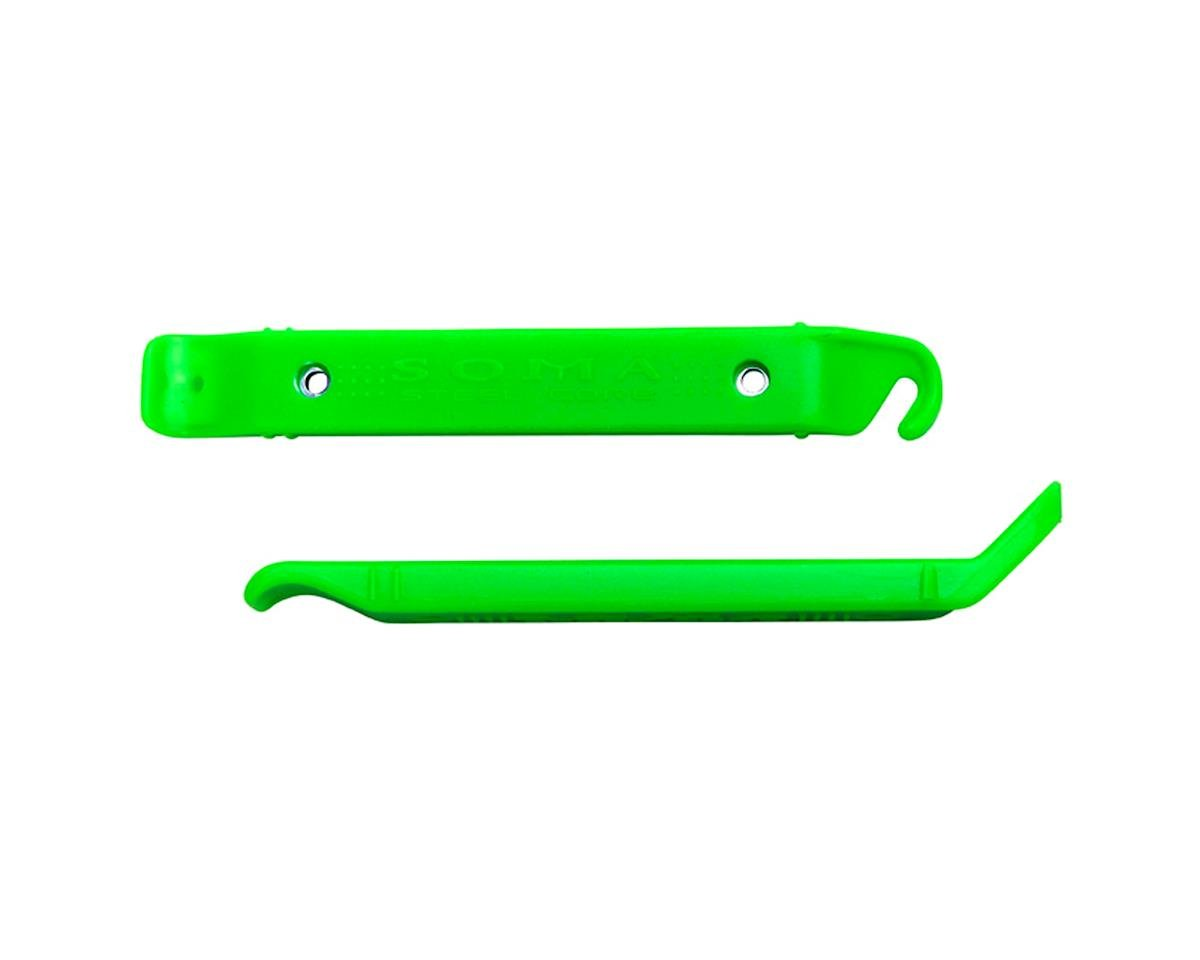 Green Pedros 2pc Plastic Wheel Rim Tire Levers Removal Install Bicycle Tools Set