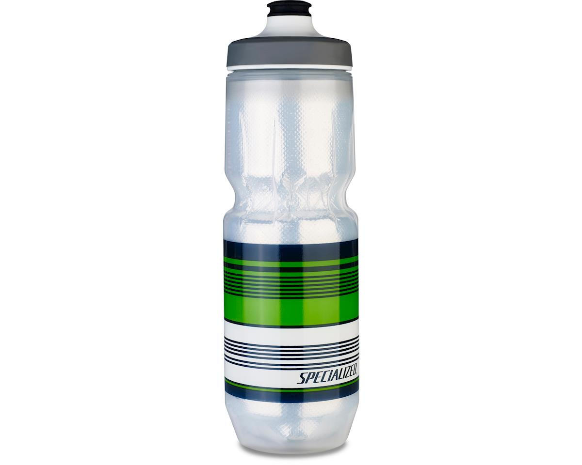 Specialized Purist Insulated Watergate Bottle (Translucent/Green Surf Stripe) (23 OZ)