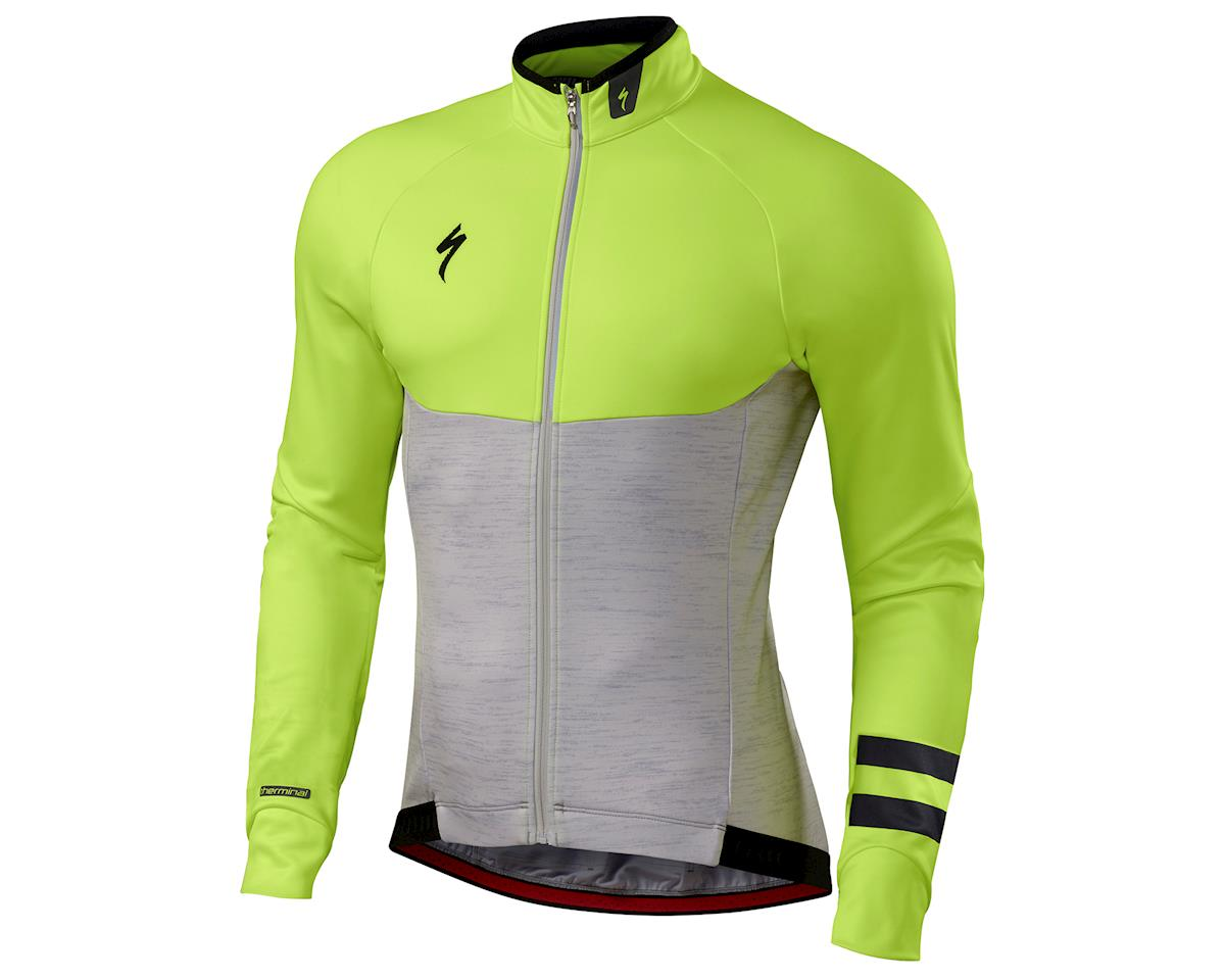 Specialized Therminal Long Sleeve Jersey (Light Grey Heather/Neon Yellow) (M)