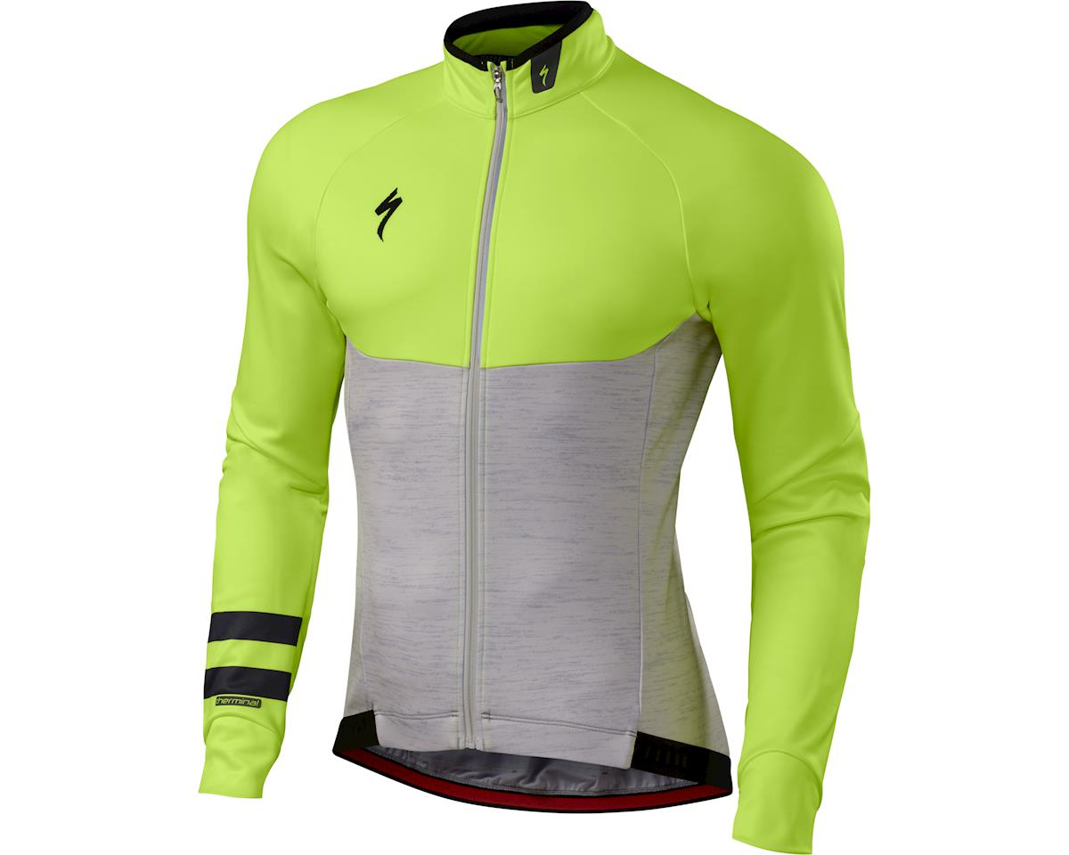 Specialized Therminal Long Sleeve Jersey (Light Grey Heather/Neon Yellow) (2XL)
