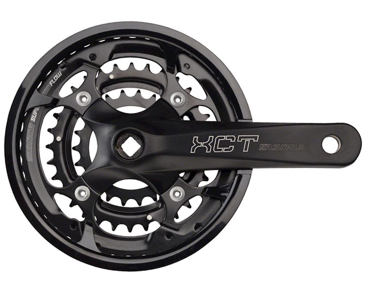 Sr Suntour XCT Jr. Crankset: 9-speed 44/32/22t, 152mm, Square Taper, Black