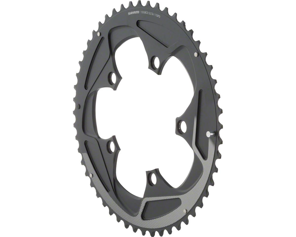 SRAM 52 Tooth 11-Speed 110mm BCD Yaw Chainring Black with Silver Trim, Use with