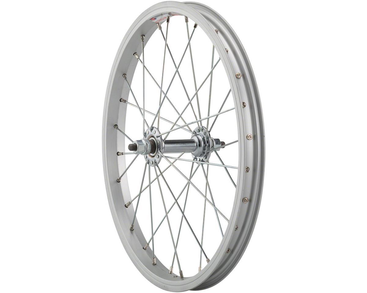 "Sta-Tru Front Wheel 16"" Silver Steel Rim, Solid Axle, and 28 Spokes, Includes Ax"