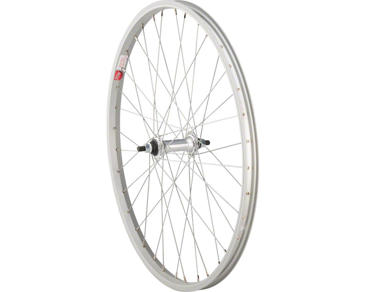 "Front Wheel 24"" x 1.5"" Solid Axle, 36 Spokes, Includes Axle Nuts, Silver"