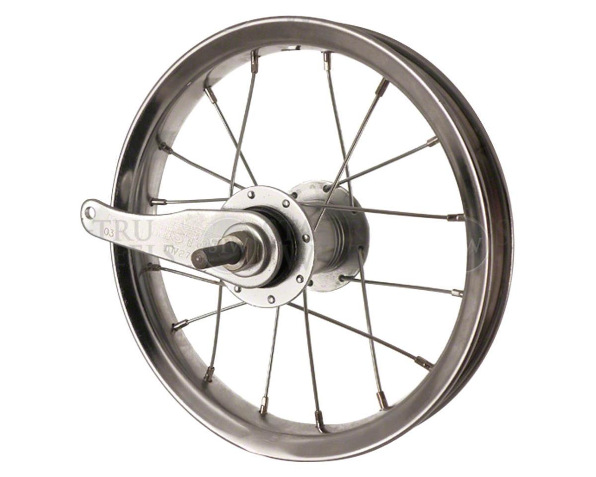 """Sta-Tru Rear Wheel 12"""" Silver Coaster Brake, Steel Rim Solid Axle, and 20"""" Spoke"""