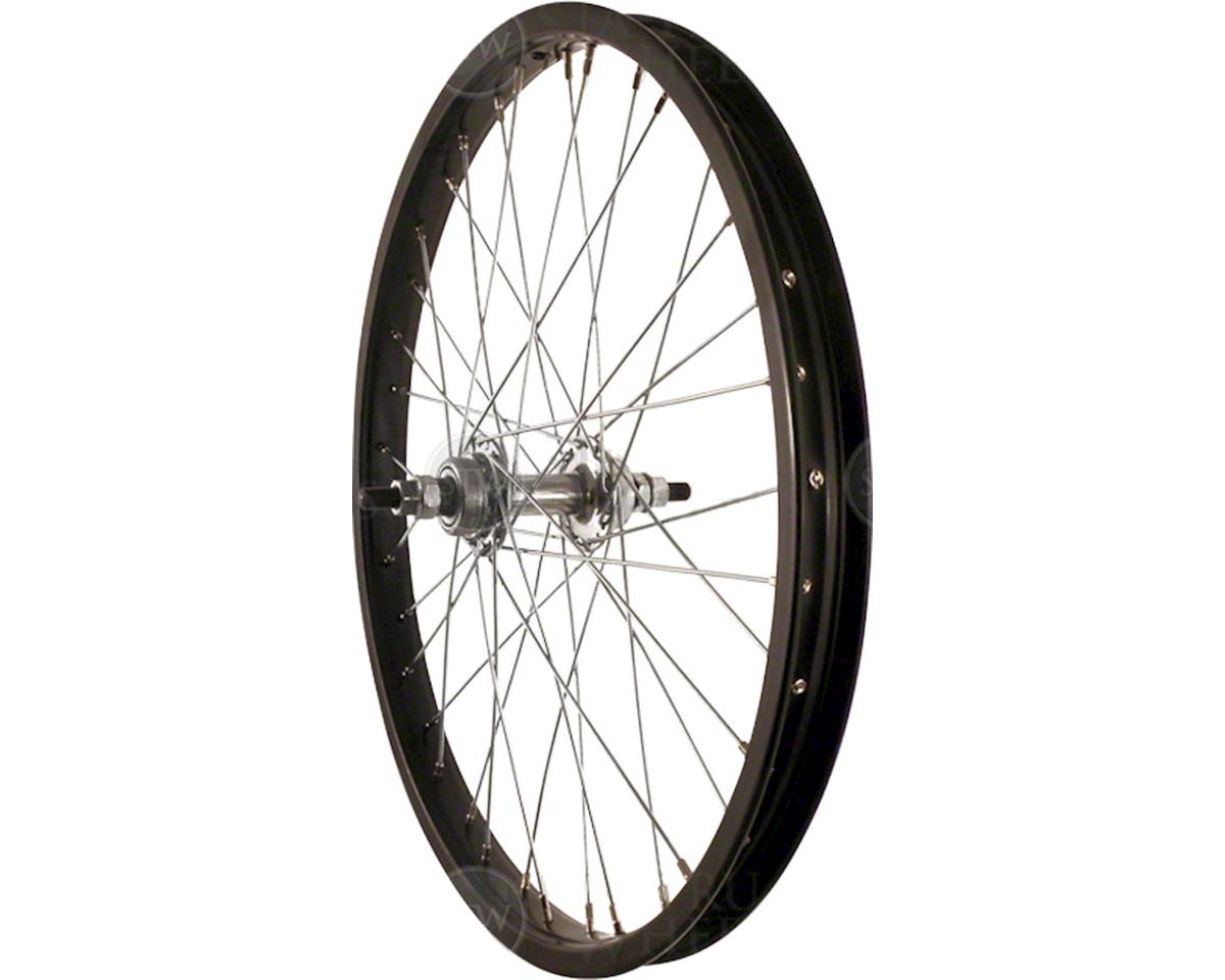 "Rear Wheel 20"" Black Single Speed BMX Hub, Steel Rim, Solid Axle, and 36"