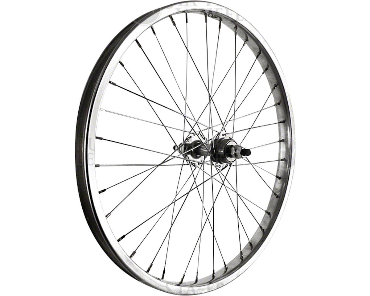 "Rear Wheel 20"" Silver Single Speed BMX Steel Rim, Solid Axle, 36 Spokes,"