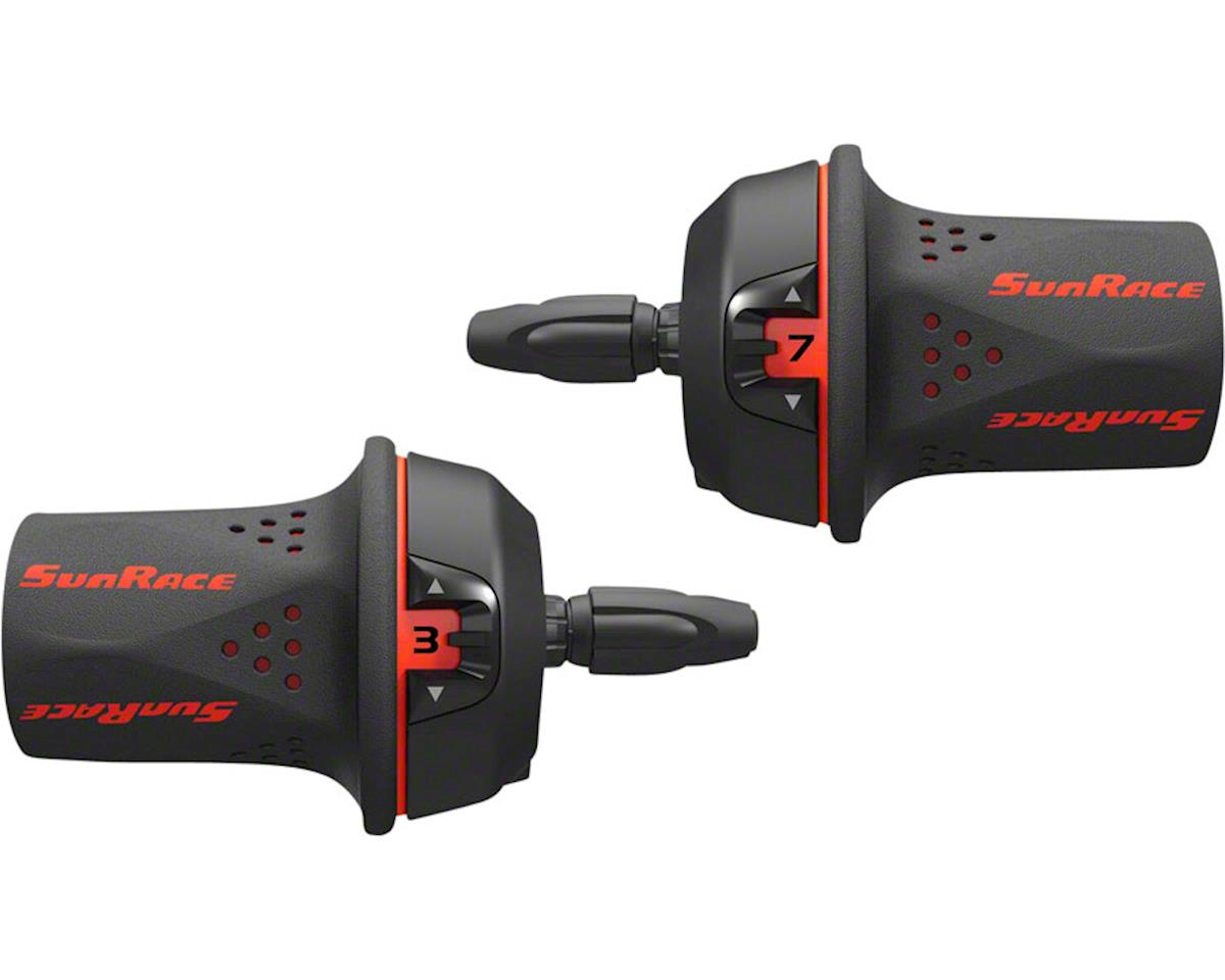SunRace M21 Twist Shift Set 7-Speed Rear 3-Speed Front: Red