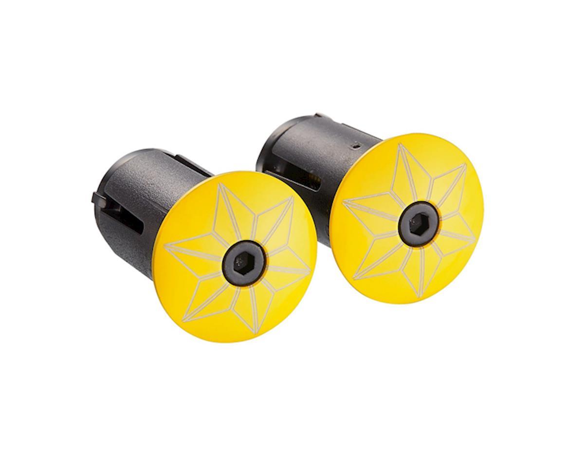 Supacaz Star Plugz bar plugs (Powder Coated TDF Yellow)