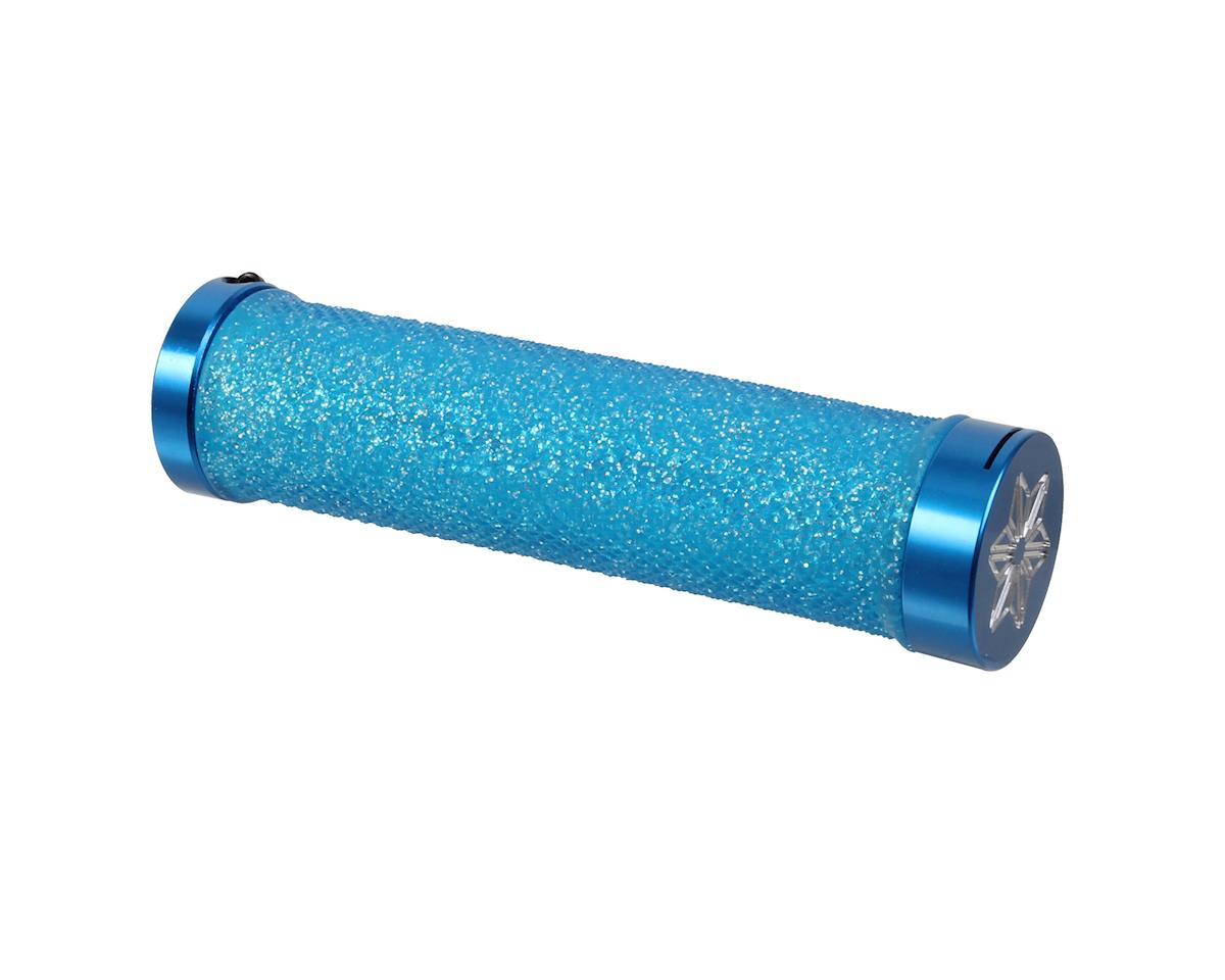 Supacaz Diamond Kush Locking Grips (Neon Blue w/ Blue Rings)