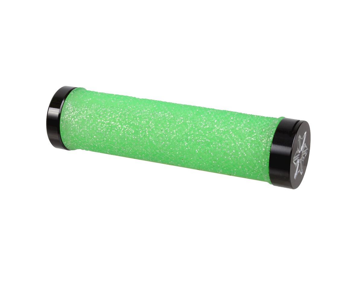 Supacaz Diamond Kush Locking Grips (Neon Green w/ Black Rings)