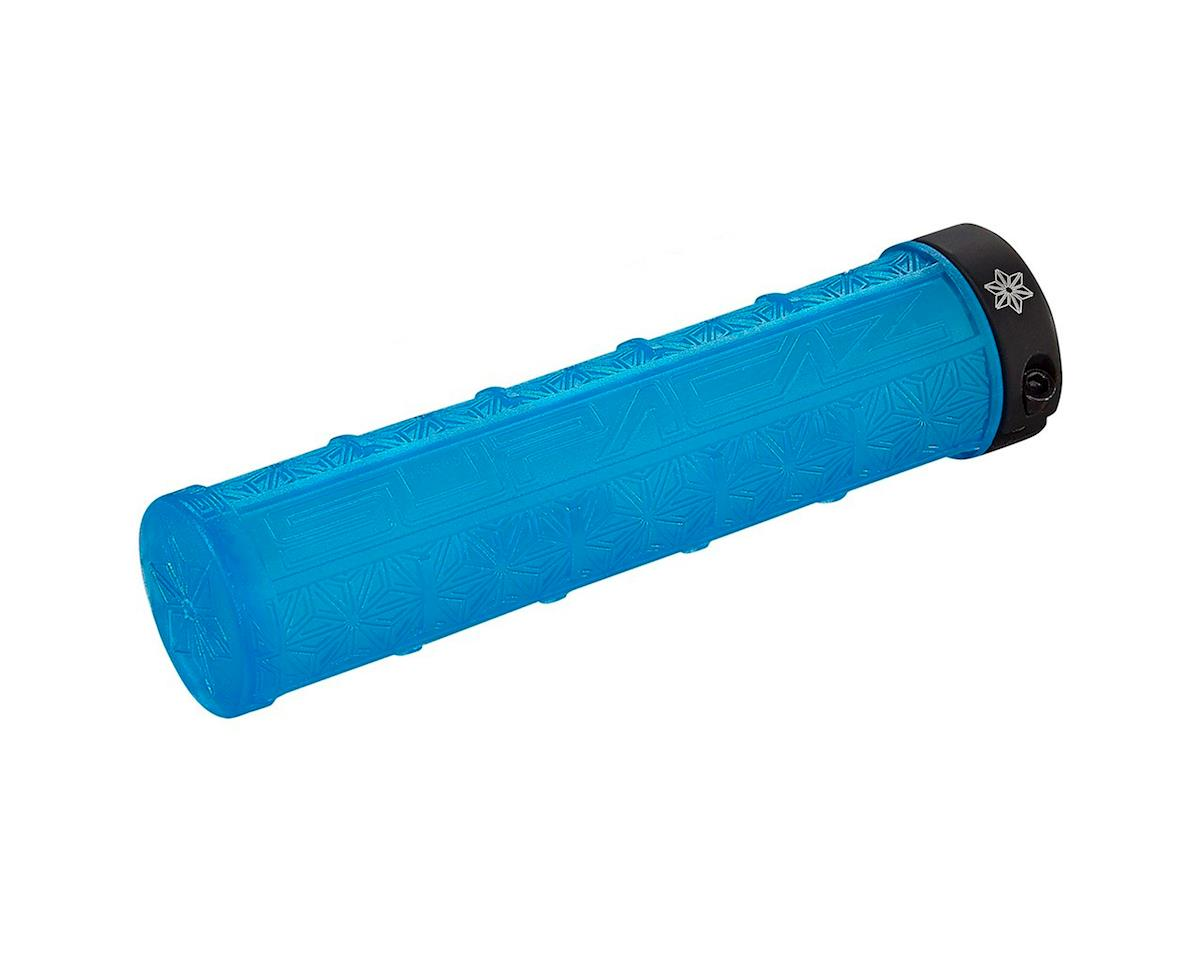 Supacaz Lockon Grizips Grips (Clear Neon Blue/Black) (135mm)