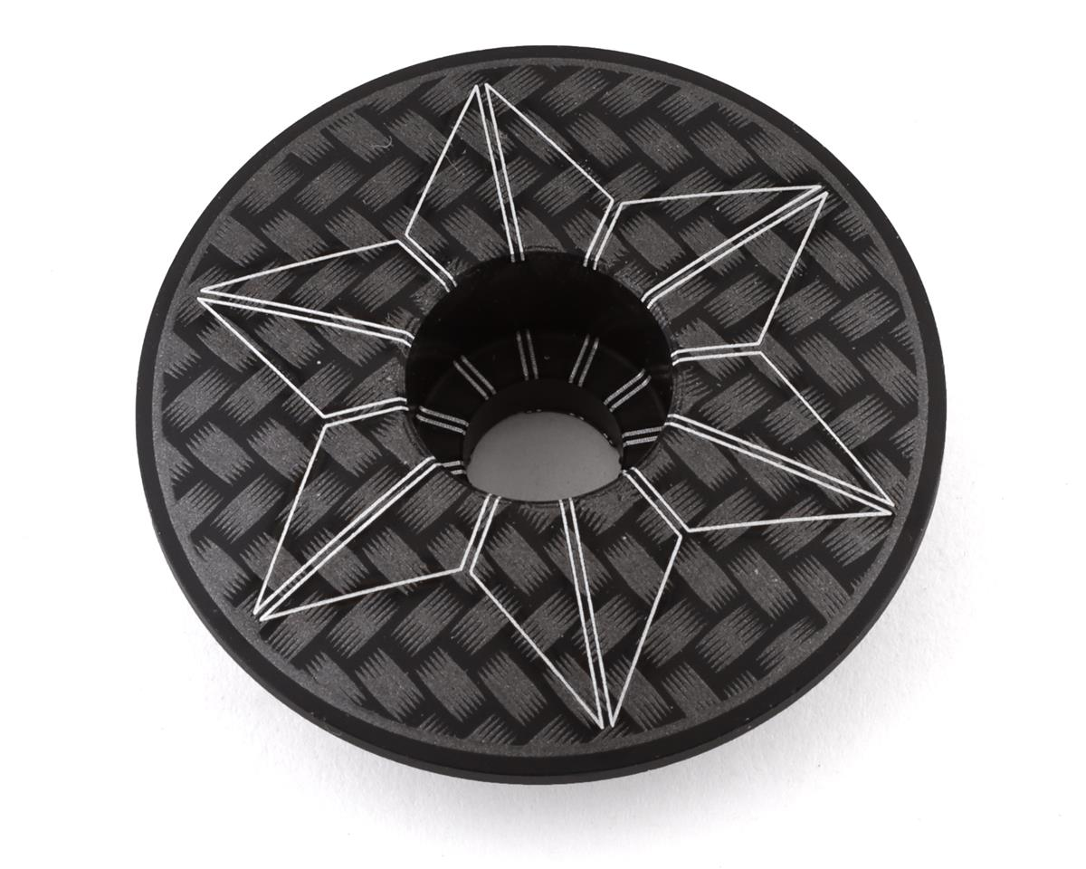 Supacaz Carbon Ano Laser Etched Star Cap (Black/White)