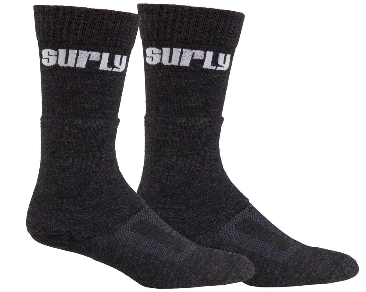 Surly Tall Logo Wool Sock (Black) (XL)