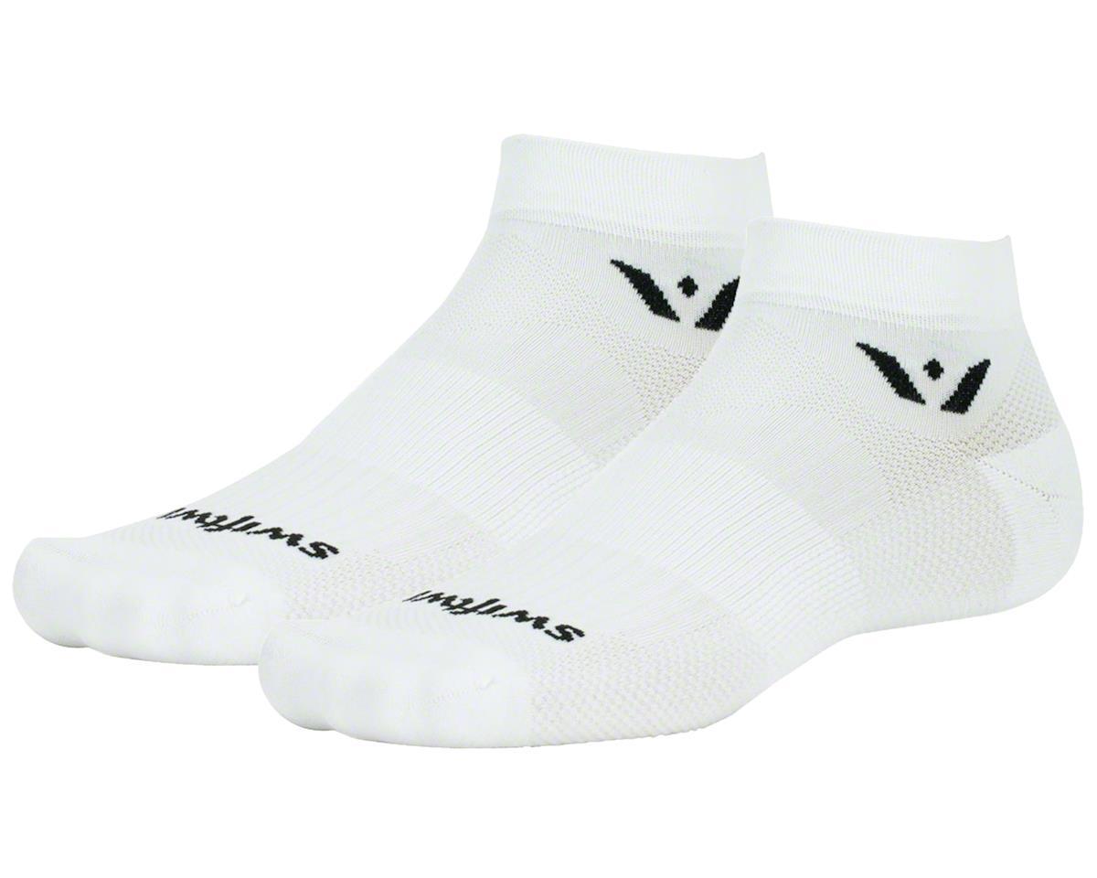 """Swiftwick Aspire One 1"""" Cuff Sock (White) (L)"""