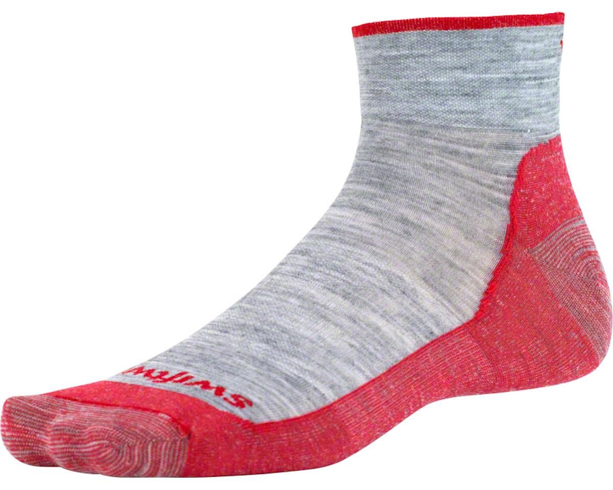 Swiftwick Pursuit Four Ultra Light Hike Sock (Heather Gray/Red) (L)