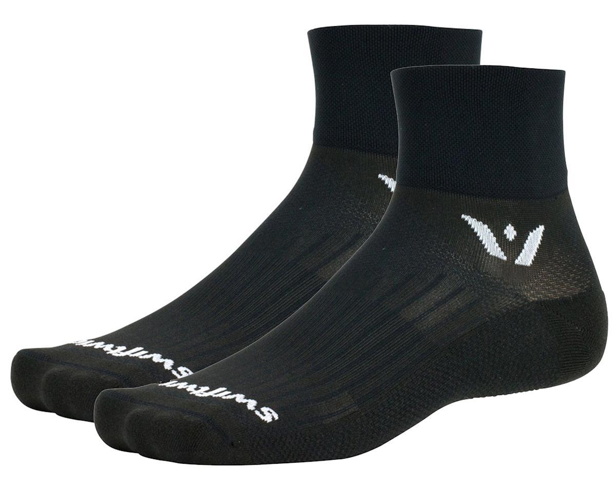 """Swiftwick Aspire Two 2"""" Cuff Sock (Black) (L)"""