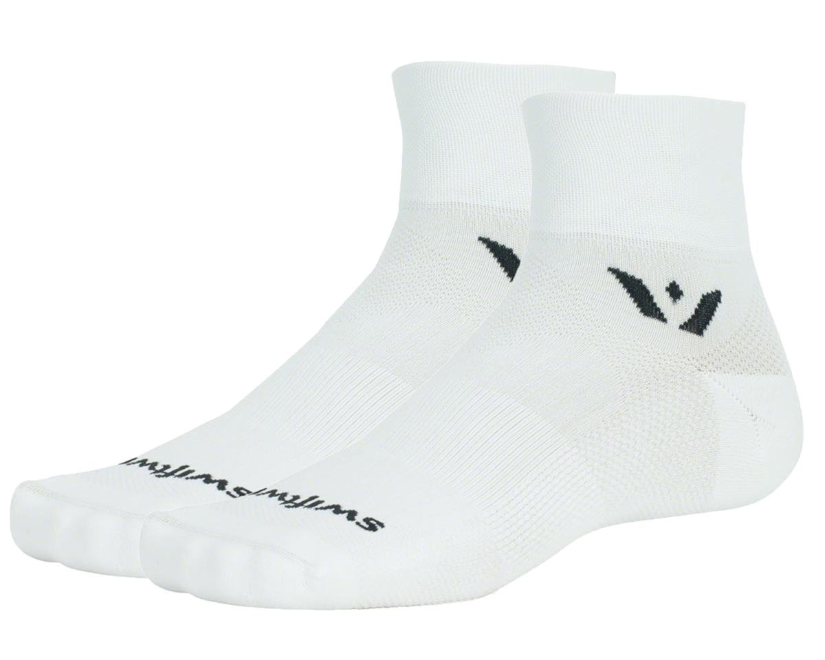 "Swiftwick Aspire Two 2"" Cuff Sock (White) (L)"