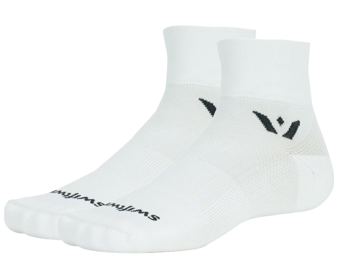 "Swiftwick Aspire Two 2"" Cuff Sock (White) (M)"