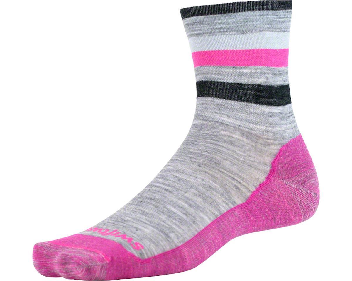 Swiftwick Pursuit Four Ultra Light Hike Sock (Heather Gray/Pink) (L)