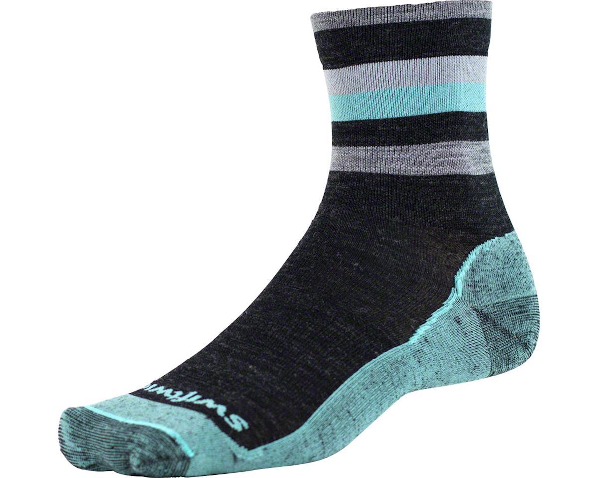 Swiftwick Pursuit Four Ultra Light Hike Sock (Coal Mint) (L)