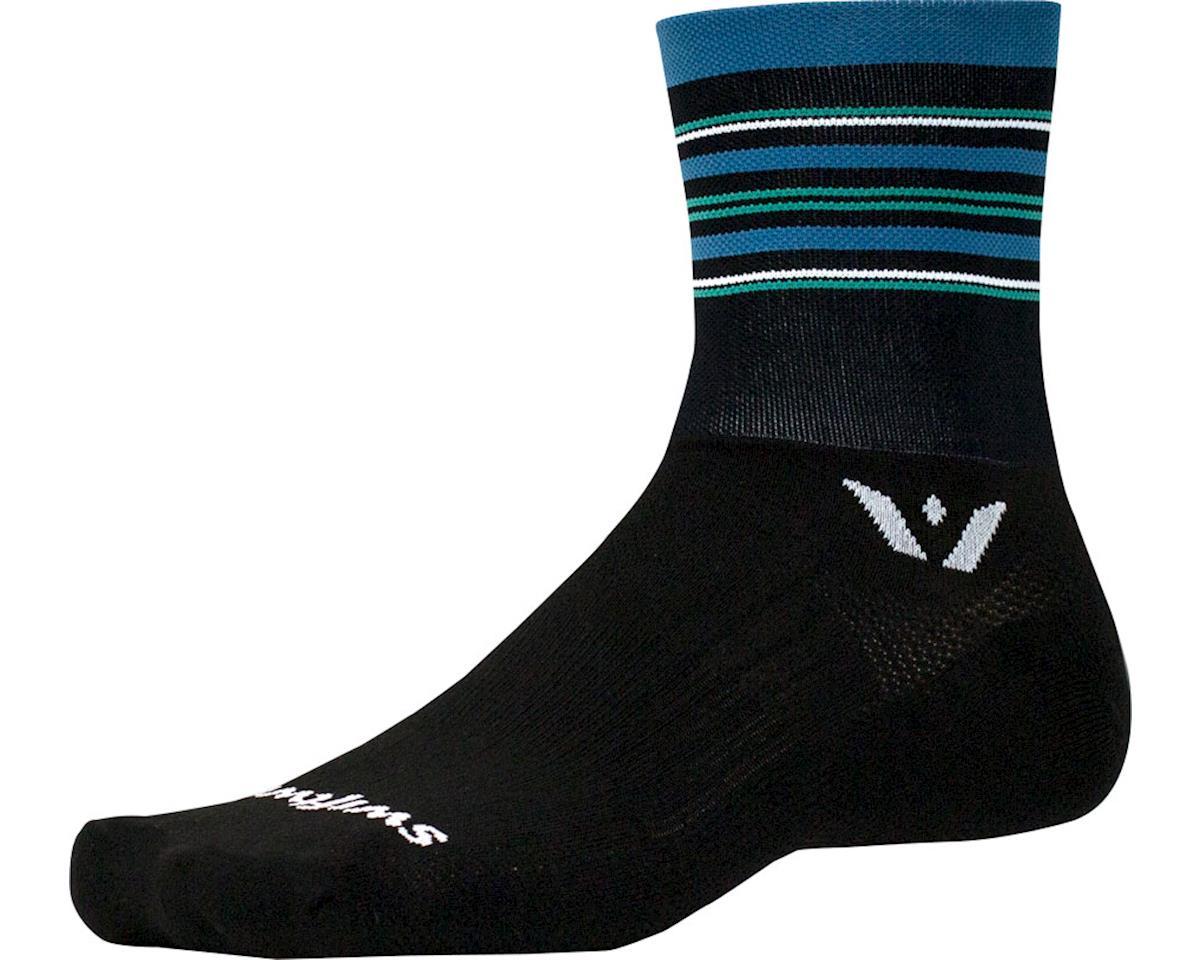 Swiftwick Aspire Stripe Four Sock (Black/Steel Blue) (M)