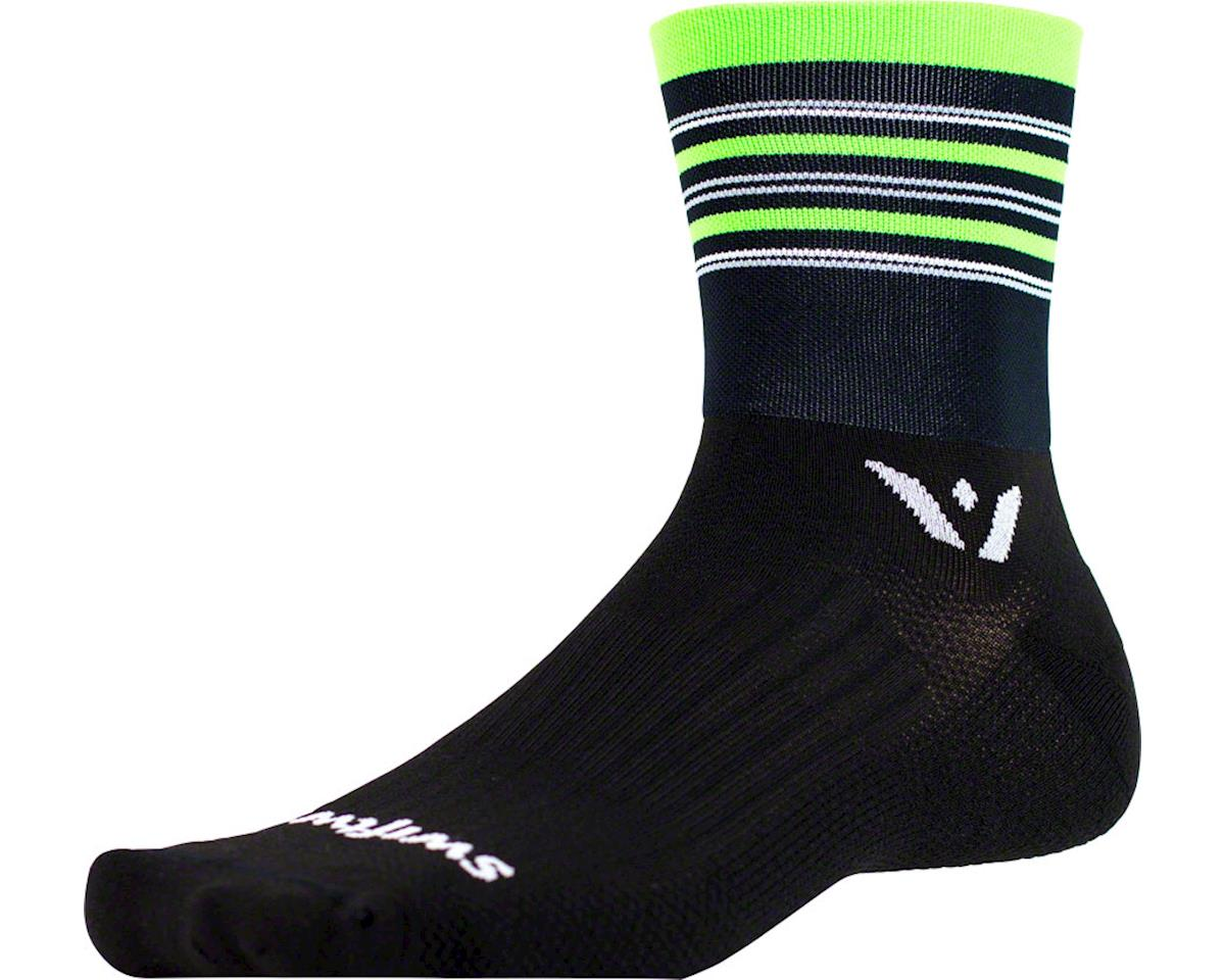Swiftwick Aspire Stripe Four Sock (Black/Green/Gray) (M)