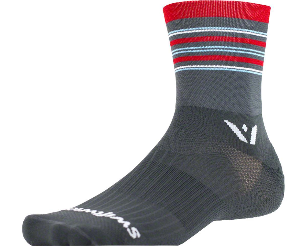 Swiftwick Aspire Stripe Four Sock (Gray/Red/Blue)
