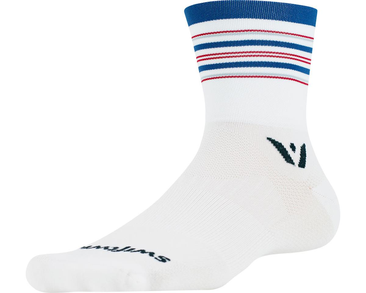 Swiftwick Aspire Stripe Four Sock (White/Blue/Red) (L)