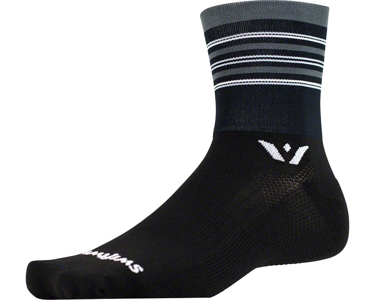 Aspire Stripe Four Sock (Black/Gray/Silver)