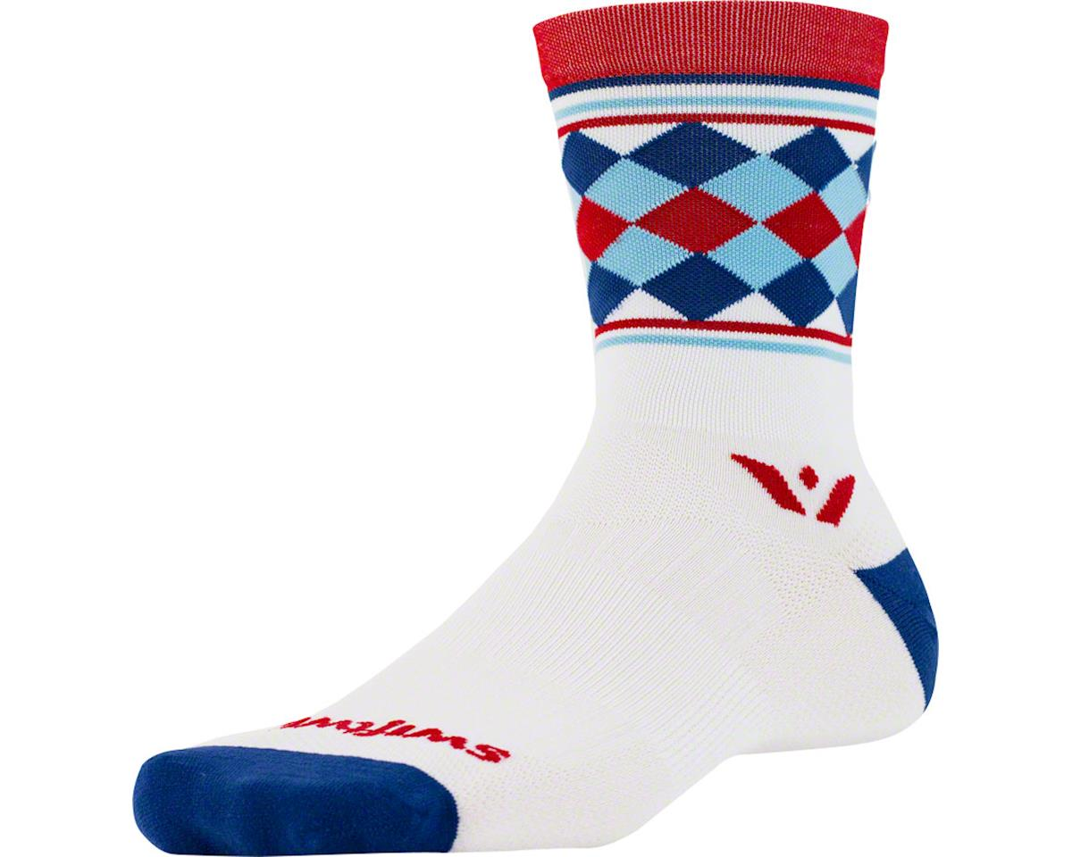Swiftwick Vision Five Argyle Sock (White/Red/Navy) (L/XL)