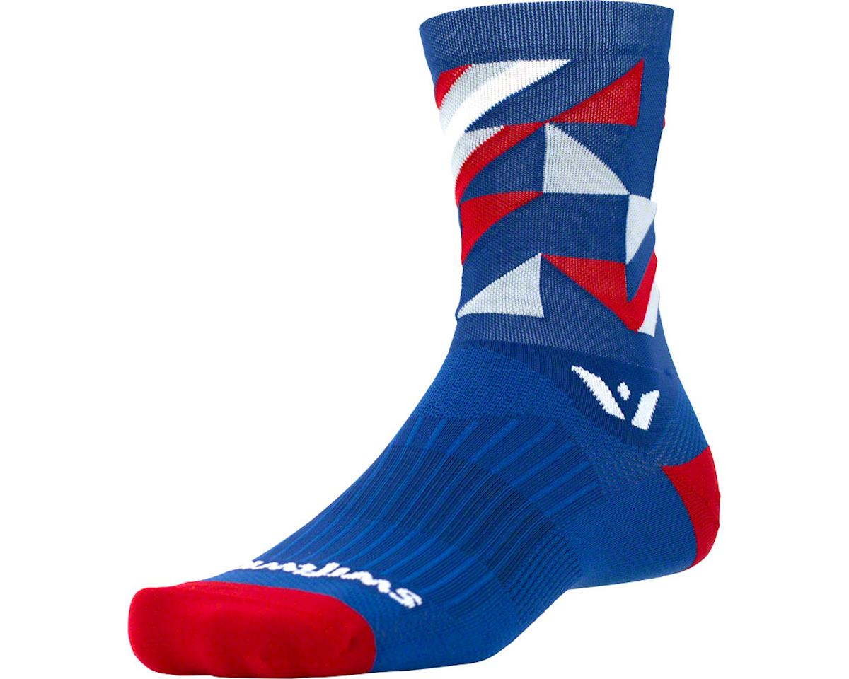 Swiftwick Vision Five Geo Sock (Navy/Red/Gray)