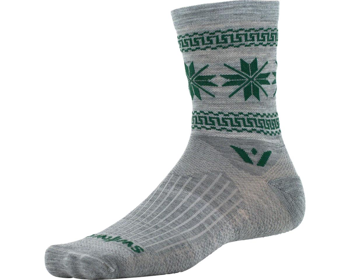 Swiftwick Vision Five Winter Collection Sock (Heather Gray/Green) (S)