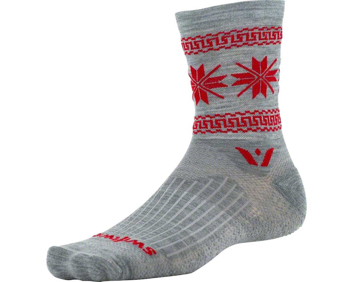 Swiftwick Vision Five Winter Collection Sock (Heather Grey/Red)