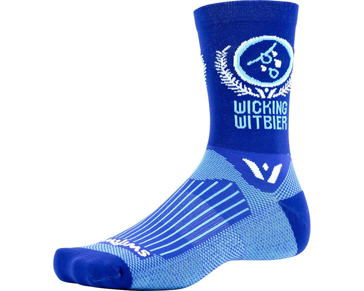 Swiftwick Vision Five Beer Series Sock (Wicking Witbier/Blue) (L/XL)