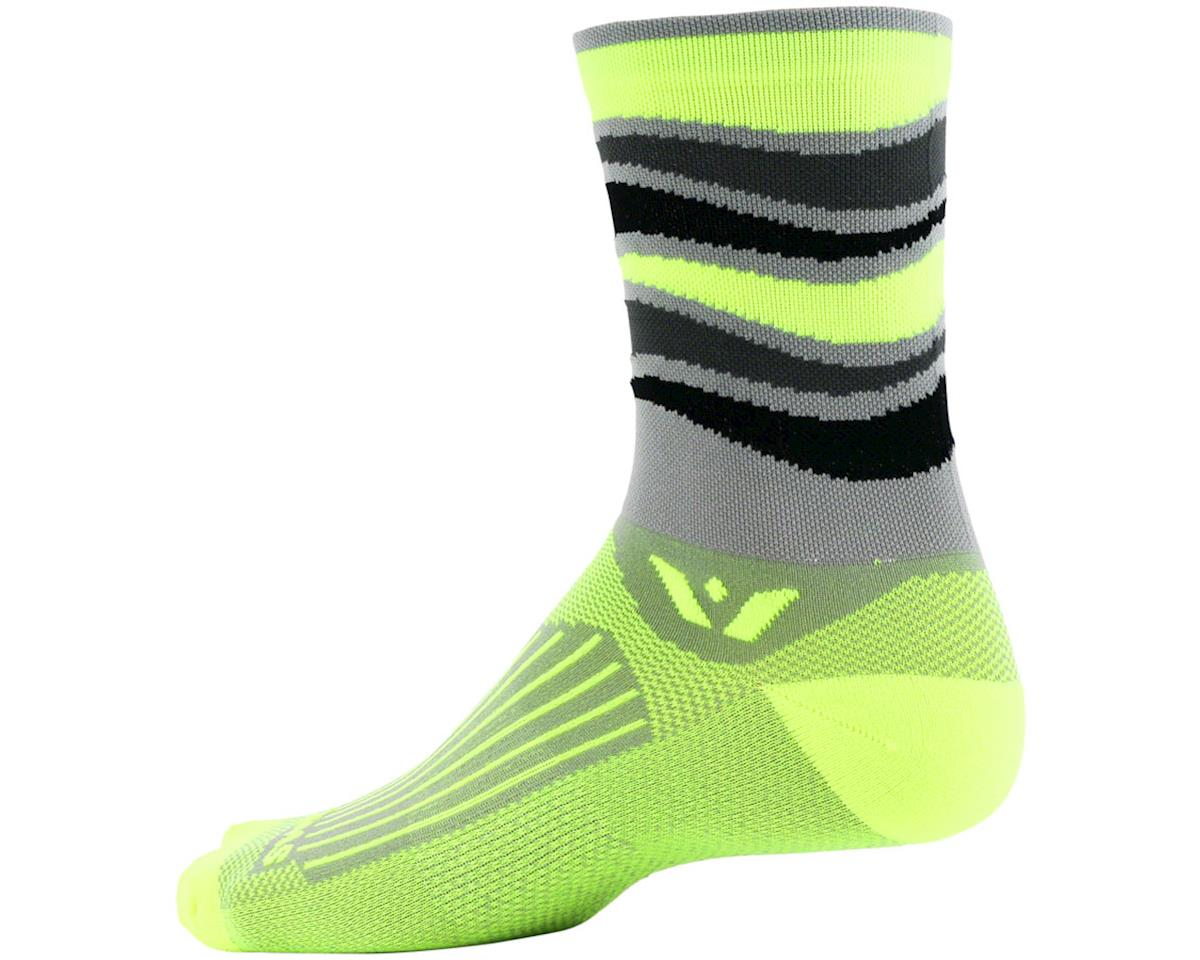 Swiftwick Vision Five Wave Sock (Gray/Yellow) (S)
